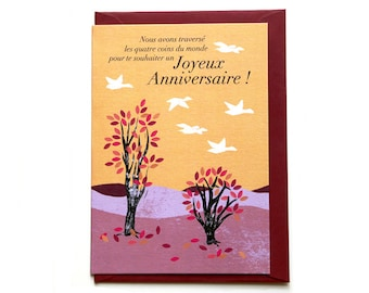 With pink trees illustration birthday card