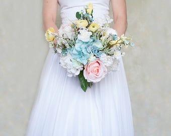Pastel Bridal  Bouquet, Teal Bouquet, Yellow Bouquet, Pastel Bouquet, Peach Bouquet, Wedding Flowers, Silk Bridal Bouquet, Bridal Bouquet