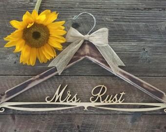 Distressed Bridal Hanger, Rustic Wedding Hanger, Bride Hanger, Wedding Hanger, Rustic Wedding, Shabby Chic Wedding, Fall Wedding, Mrs Hanger