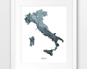 Italy Map Print, Italy Watercolor Map Print, Italy Wall Art, Italy Watercolor Blue Grey Indigo, Home Decor, Travel Poster, Printable Art