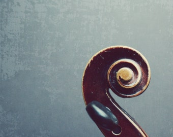 "Violin scroll abstract minimal photograph fiddle spiral music gray brown wood musical instrument art print ""Fiddle Head"""