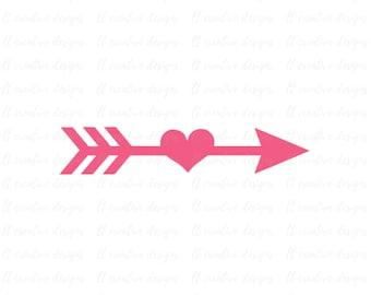 Arrow SVG, Arrow Heart SVG, Arrow Cutting File, Arrow Clipart, SVG Files, Cricut Cut Files, Silhouette Cut Files