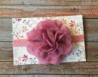 Dusty Pink Headband, Dusty Pink Baby Headband, Baby Headband, Baby Girl Headband, Newborn Headband, Infant Headband, Mauve Headband, Baby