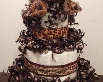 3 Tier Leopard Diaper Cake, Leopard Diaper Cake, Shower Centerpiece, Hospital Gift, Newborn, Stuffed Animal