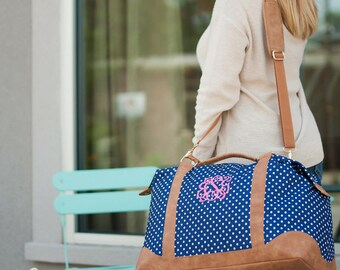 Charlie Dot Monogram Weekender Bag - Monogrammed Weekender Bag - Charlie Dot Overnight Bag - Travel Bag - Monogram Bag