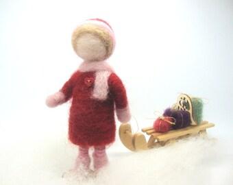 Little girl with sledge , Wool Needle Felt Miniature , Waldorf Art, Home Decor ,  Nature Table