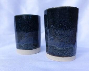 2 tumbler set - handmade unique pieces in beautiful blue and purple glaze 4 oz