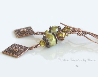 Copper Earrings Lime Green Swarovski Crystals Czech Glass Beads Victorian Inspired Diamond Shaped Copper Charms Antique Earrings