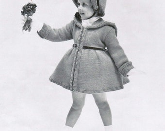 Girl's Coat and Bonnet knitting pattern PDF / Vintage coat and bonnet pattern / Sizes 2, 3 and 4 vintage girl's coat pattern