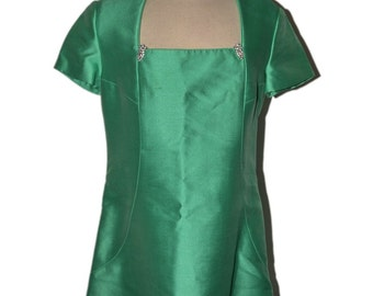 Sharon Rodgers Vintage Estate Mint Green Square Neckline Dress for Jerry Silverman