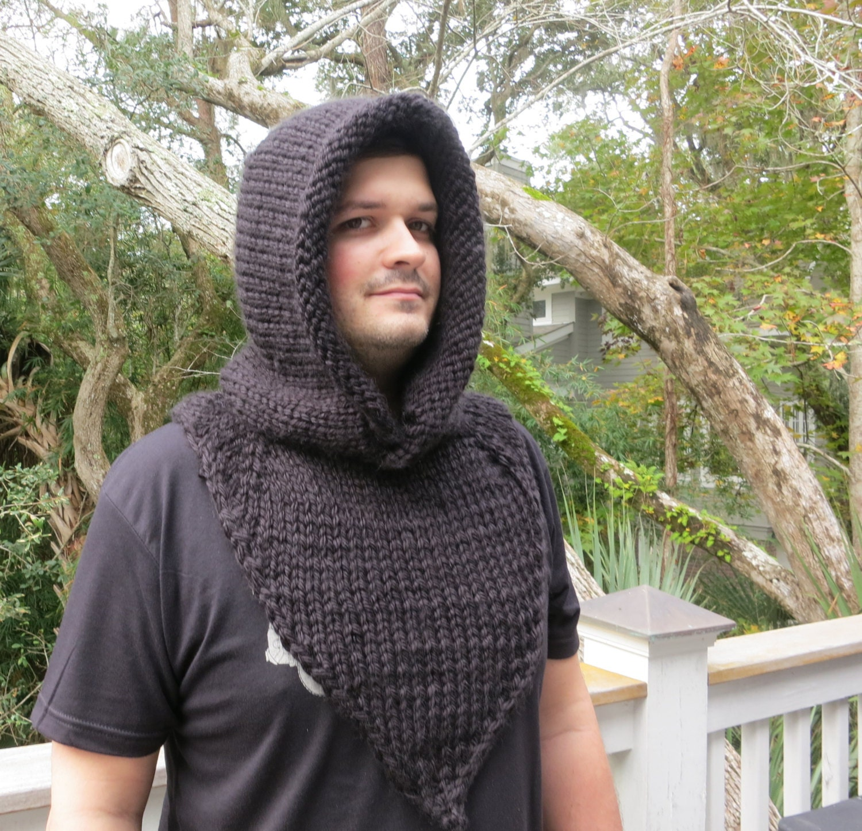 Knittin Pattern, Hat Knitting Pattern, Mens Hooded Cowl, Robin Hood ...