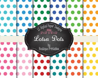 Lotsa Dots - Rainbow polka dots digital papers - 12x12 and 8.5x11 300 dpi