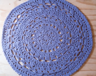 Crocheted rug, round rug - purple pin-stripe, lilac rug