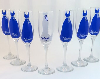 Bridesmaid Wine Glasses - Bachelorette Party Flutes - Bridesmaids Gifts on a Budget - Personalized Champagne Flutes - Wedding Party