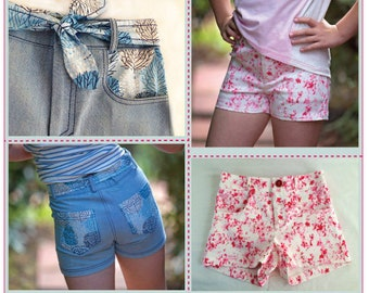 Girls summer shorts sewing pattern SANDY BAY Shorts, classic jeans-style short shorts pattern sizes 2 to 14 years, kids shorts pattern