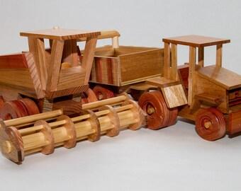 Three Piece Farm Set: Tractor, Trailer and Combine Harvester