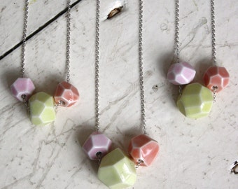 faceted stone necklace, 3 stones pink, yellow and peach