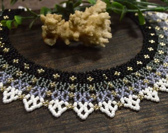 Trending necklace, monochrome necklace, Choker necklace, Seed bead necklace, Own necklace, Beadwork necklace, Boho necklace, Collar necklace
