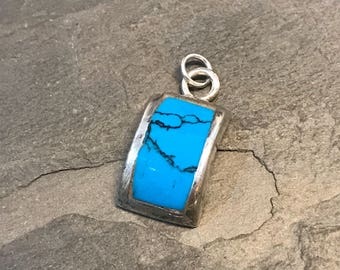 Vintage sterling silver handmade pendant, Native American, 925 silver with turquoise detail, stamped 925