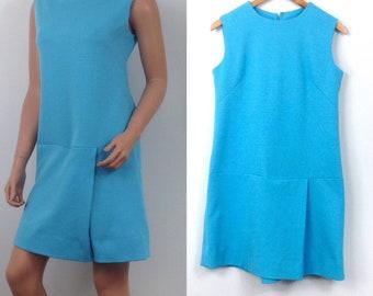 VTG 1960s romper womens solid blue shorts skort skirt one piece outfit dress D1