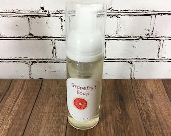 handmade liquid soap, foaming soap, grapefruit scented soap, grapefruit soap