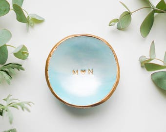 Personalized Jewelry Dish, Ring Dish, Custom Wedding Gift, Anniversary Gift, Catch All, Gift for Couple, Gift for her, Blue Ombre Ring Dish