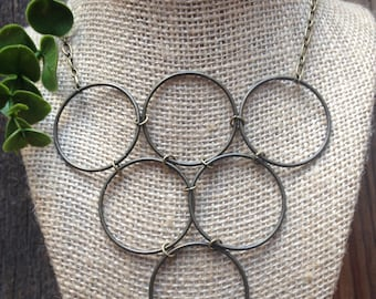 Circle Necklace in Antique Brass