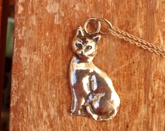 Solid Silver Cat Pendant Necklace