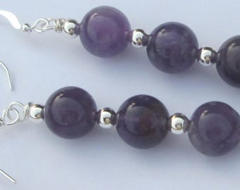 Pierced Earrings Purple Amethyst Stack Design handmade pierced dangle Amethyst earrings Gift For Her by Ziporgiabella