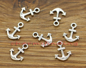 100pcs Anchor Charms Nautical Charms Small Size Antique Silver Tone 11x14mm cf2881