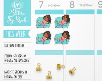 African Amercian Planner Stickers - Dark Skin Girl Stickers - Nap Stickers - Sleep Stickers - Black Girl Stickers - Naptime - Jackie