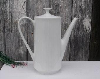 Vintage Mittereich Bavaria China Coffee Pot Alpine Pattern 630 / 2-1/2 Ribbed White on White, Mid Century Coffee Pot