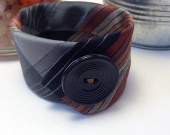 Vintage Necktie Cuff, Necktie Bracelets, Fall Fashion, Fall Colors, Gifts, Under 20, Textile Bracelet, Rust, Black Bracelet, Fabric Cuffs