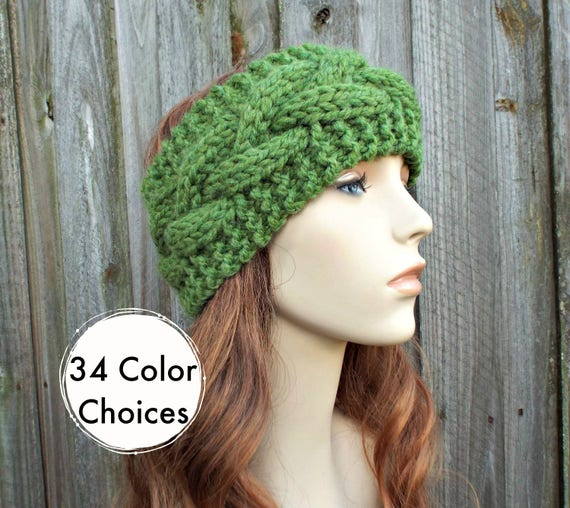 Branch Cable Headband in Grass Green - Green Headband Greed Earwarmer Womens Head Wrap - Knit Accessories - 34 Color Choices