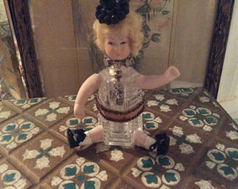 Altered Flapper Doll Art, Antique Cut Glass Shaker and Antique Assemblage