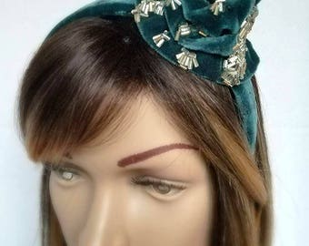 Velvet Rose Dewdrop Fascinator,Headband,Silver,Teal,Bespoke,Hat,Millinery,Wedding ,Princess,Fairy,Hat,Woman,Birthday,Chrustmas,New Years Eve