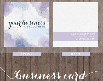 square business card design - purple and blue watercolor - we design, you print with moo