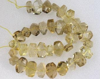Large Lemon Quartz Faceted Freeform Nugget Beads 18x12mm - 16 Inch Strand