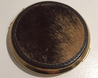 Vintage gold compact stratton leather pony hide cover rare