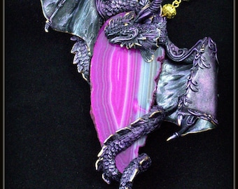 Jewelry necklace Dragon necklace Purple dragon jewelry Fantasy jewelry Agate pendant Polymer clay pendant