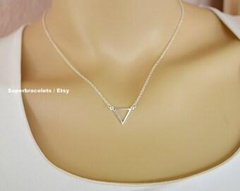 small Triangle Necklace, gold triangle necklace, triangle necklaces, silver triangle necklace, triangle pendant necklace, chevron