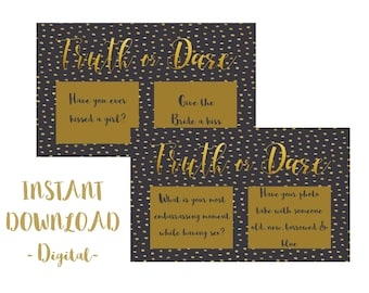 Truth or Dare, Bachelorette, Hens, Party Game, Girls Night PRINTABLE INSTANT DOWNLOAD - Black & Gold
