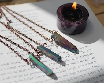 Flame Aura Quartz point copper necklace. Flame Aura Quartz. Aura Quartz necklace. Protection necklace. Witchy necklace. Pagan gift.