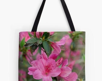 Purple flower tote bag, reusable market bag, shopping bag, azalea flower print, nature photography, gift for mom, purple azalea flowers