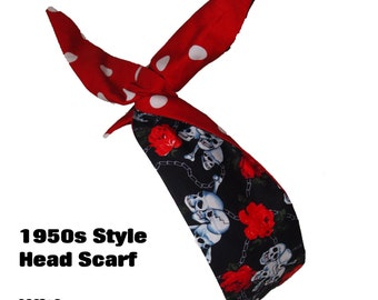 Vintage 50s Reversible Mini Black Skull And Rose And Red Polka Dot Head Scarf - Hair Tie 1950s Bandanna Tattoo Skulls Skeleton Steampunk EMO