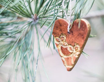 Valentine gift_handmade pottery_ceramic ornament_heart shaped favor_patterned ceramics_brown gold_Valentines Day Decor_eco Earth friendly