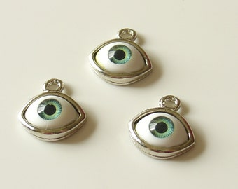 I'm Watching You - Approximately 18mm Silver EyeBall Pendant Charm - 2 Green Eyes