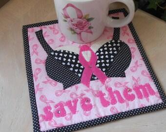 MUG RUG PATTERN  Breast Cancer Awareness  Mug Rug Pattern (Instant Digital Download)Sewing pattern pdf file