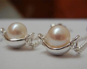 Dangling chain white fresh water Pearl Earrings