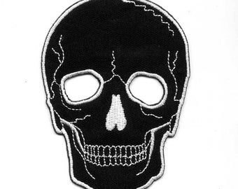 Badge black outline white SKULL embroidered iron or sew. Patch applique